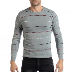 Сив мъжки пуловер с цветни райета