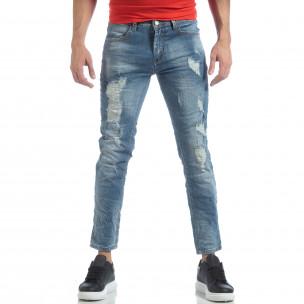 Мъжки сини дънки с големи прокъсвания 2