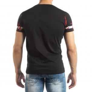 Мъжка тениска с принт в черно  2