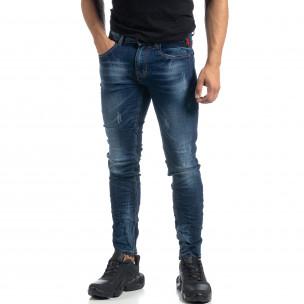 Изтъркани мъжки сини дънки с прокъсвания Slim fit
