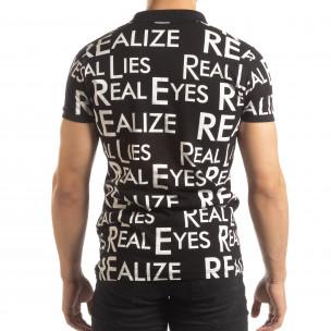 Черна мъжка тениска пике с надписи  2