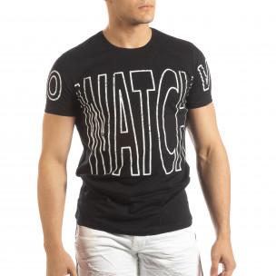 Черна мъжка тениска принт Watch