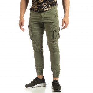 Мъжки зелен Cargo Jogger в рокерски стил 2