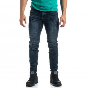 Тъмносини мъжки дънки с акценти Slim fit  2