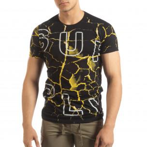 Мъжка тениска Supple в черно и жълто  2