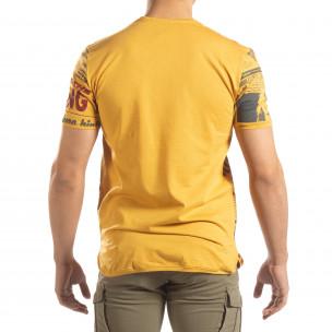 Мъжка тениска Exclusive News в камел   2