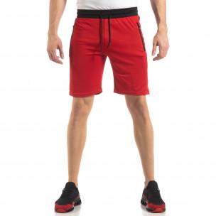 Червени мъжки шорти с ивици  2