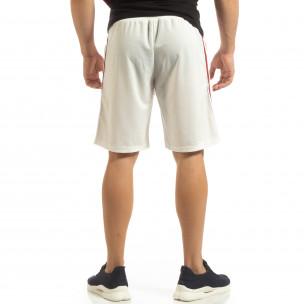 Ултралеки мъжки шорти в бяло с кантове  2