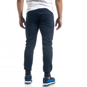 Мъжко синьо долнище с апликирани джобове  2