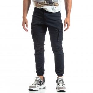 Мъжки син рокерски панталон с карго джобове  2