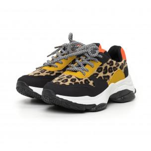 Дамски цветни маратонки леопард мотив 2