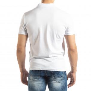 Фина мъжка тениска Polo shirt в бяло 2