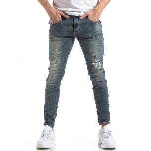 Намачкани мъжки дънки състарен ефект  2