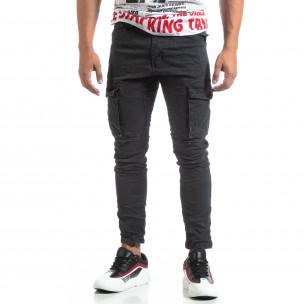 Сив мъжки карго панталон с прави крачоли  2