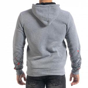 Сив мъжки суичър hoodie с принт 2