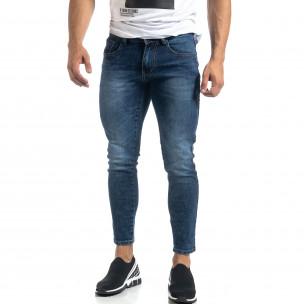 Cropped мъжки сини дънки с кантове Slim fit  2