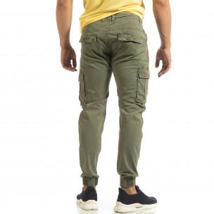 Мъжки карго джогър панталон в зелено 2