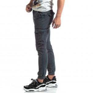 Мъжки сив карго панталон с маншети трико