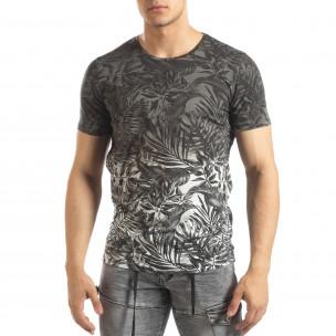 Мъжка сива тениска с преливане Leaves мотив