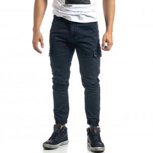 Син мъжки карго панталон с ципове  2