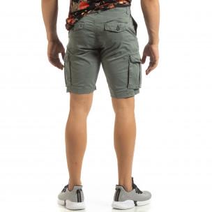 Къси карго панталони в сиво с детайл  2