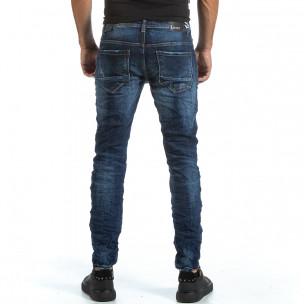 Мъжки намачкани сини дънки с прокъсвания 2