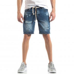 Мъжки сини къси дънки с прокъсвания  2