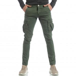 Зелен мъжки панталон с карго джобове  2