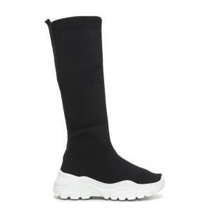 Дамски черни ботуши тип чорап бяла подметка
