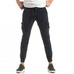 Син карго панталон с трикотажни маншети  2
