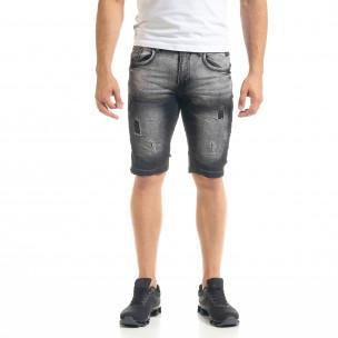 Slim fit мъжки къси дънки в черно