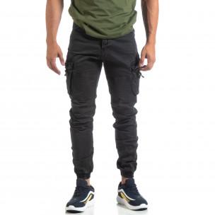 Черен мъжки панталон с ципове на джобовете  2