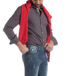 Мъжка памучна риза Slim fit синьо каре