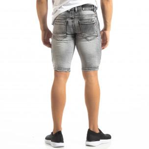 Мъжки намачкани къси дънки Slim-fit в сиво  2
