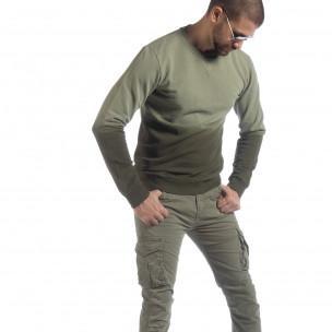 Мъжка зелена ватирана блуза с преливане