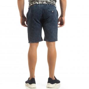 Трикотажни мъжки дънкови шорти в синьо  2