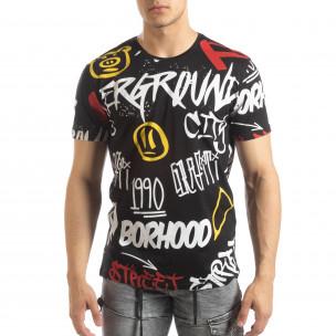 Мъжка черна тениска с графити