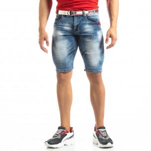 Мъжки намачкани къси дънки Slim-fit в синьо