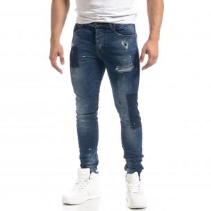 Мъжки сини дънки с пръски боя Slim fit  2