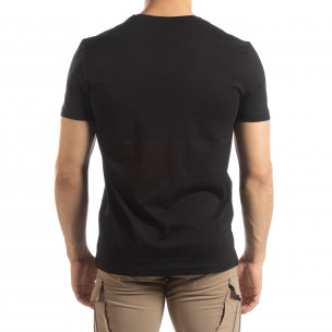 Черна мъжка тениска сребрист принт 2