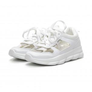 Бели дамски маратонки с прозрачни части  2