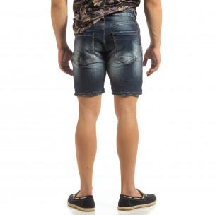 Прокъсани мъжки къси дънки със синджир  2