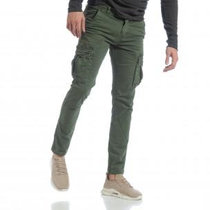 Зелен мъжки панталон с карго джобове G-9