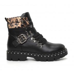Дамски боти Trekking design в черно и леопард