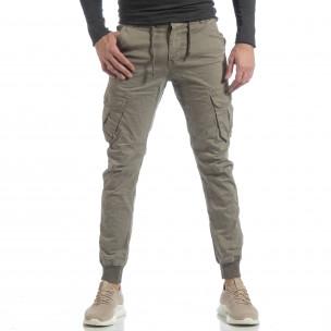 Мъжки Cargo Jogger панталон в сиво-бежово  2