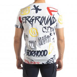 Мъжка бяла тениска с графити  2