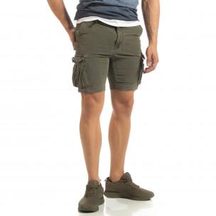 Slim fit къси карго панталони в милитъри зелено