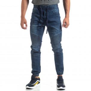 Мъжки сини Jogger Jeans в рокерски стил