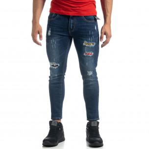 Cropped мъжки сини дънки с акценти Slim fit