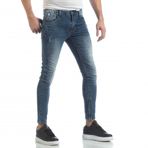 Мъжки намачкани Slim fit дънки с ципове  2